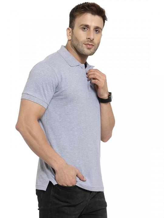 Men's Comfortable Soft Cotton Blend Plain/Solid Polo Neck Collar Half Sleeve Regular Fit T-Shirt