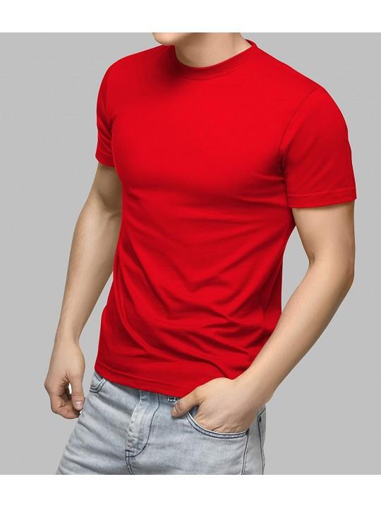Men's Comfortable Soft Cotton Blend Plain/Solid Round Neck Half Sleeve Regular Fit T-Shirt