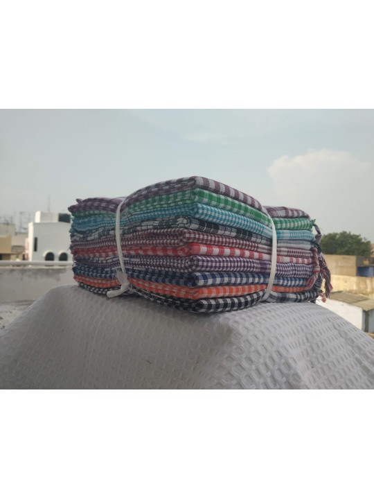Disco Multi Color Cotton Checked Towels  (10pcs pack)